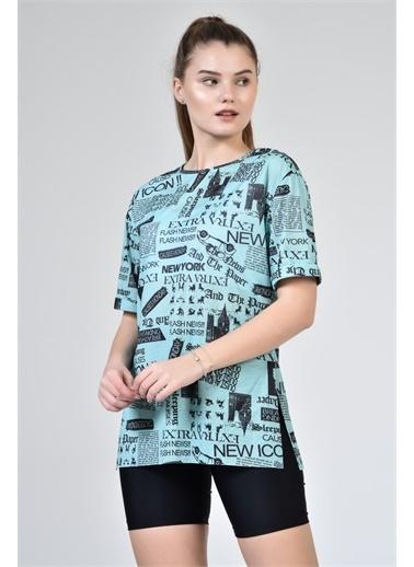 Rodi Jeans Kadın Yazı Baskılı Oversize T-Shirt DS21YB274299 Yeşil